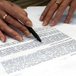 Stock Photo: Close-up of female hands working with document