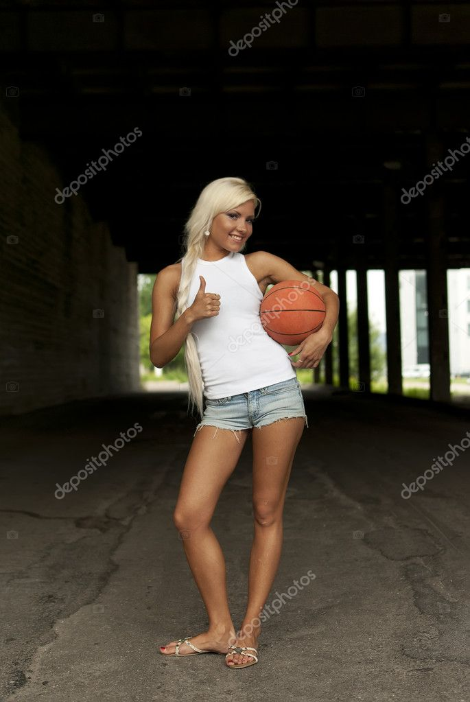 depositphotos 6082117 Beautiful smiling girl standing with a basketball in the street thumbs up Tags: hottest nude girl alive, fingering girls porn