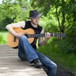 Stock Photo: Mplaying guitar in woods
