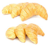 Group croissants in a basket. Collage — Stock Photo