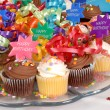 Closeup of a platter of cupcakes decorated with Happy Birthday t — Stock Photo