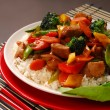 Plate of pork stir fry with vegetables — Stock Photo #5978788