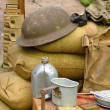 Items displayed from a World War 2 soldier — 图库照片