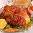 Stock Photo: Easter honey glazed ham with carrots