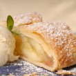 Slicke of apple strudel with vanillice cream — Stock Photo #5978862