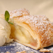 Stock Photo: Slicke of apple strudel with vanillice cream