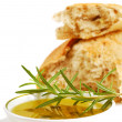 Bowl of olive oil with crusty bread and rosemary — Stock Photo #5978943