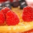 Waffle with fruit — Stock Photo