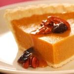Pumpkin pie with caramel sauce — Stock Photo