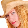 Stock Photo: Young womwearing straw hat