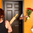 Husband coming home late to angry wife — Stock Photo #5979187