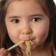 Young girl eating noodle soup — Stock Photo #5979206
