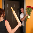 Husband coming home late to angry wife — Stock Photo #5979212