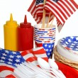 Stockfoto: Table setting for a 4th of July picnic