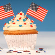 Photo: Vanilla cupcake with 4th of July theme