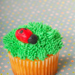 Cupcake decorated with grass frosting - Stock Photo