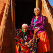 Elderly Navajo woman with her daughter - Stok fotoğraf