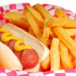 Hot dog with fries — Stock Photo