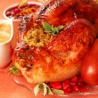 Turkey with stuffing, gravy and cranberry sauce - Стоковая фотография