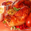 Turkey with stuffing, gravy and cranberry sauce - Stock Photo