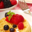 Waffles with fresh fruit — Stock Photo #5979643