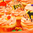 Stock Photo: Halloween cupcakes on serving tray