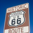 Historic Route 66 sign in Kansas - Stock Photo