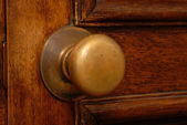 Antique door and door knob — Stock Photo