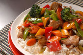 Close up of a plate of stir fry pork — Stock Photo