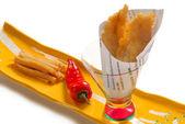 Asiatische version von fish & chips — Stockfoto