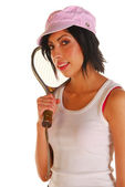 Attractive latino woman with racquetball racquet — Stock Photo