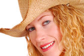 Young woman wearing cowboy hat — Stock Photo