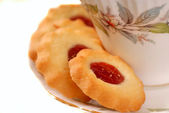 Raspberry thumbprint cookies — Stock Photo