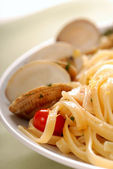 Linguini with clam sauce — Stock Photo