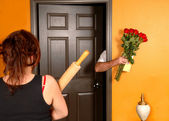 Husband coming home late to angry wife — Stock Photo