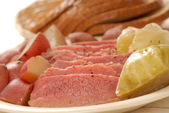 Corned beef and cabbage dinner — Stock Photo