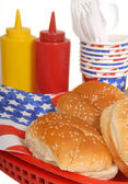 4th of July picnic table setting — Stockfoto