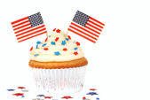 Vanilla cupcake with 4th of July theme — 图库照片