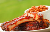 BBQ Ribs and beans — Stock Photo