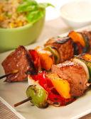 Shish Kabob with barley salad — Stock Photo