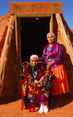 Elderly Navajo woman with her daughter — Stock Photo