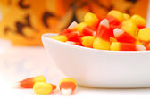 Halloween candy corn in a bowl — Stock Photo