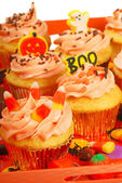 Halloween cupcakesd on a tray — Stock Photo