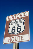 Historic Route 66 sign in Kansas — Stock Photo