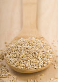 Steel cut oats on a wooden spoon — Stock Photo