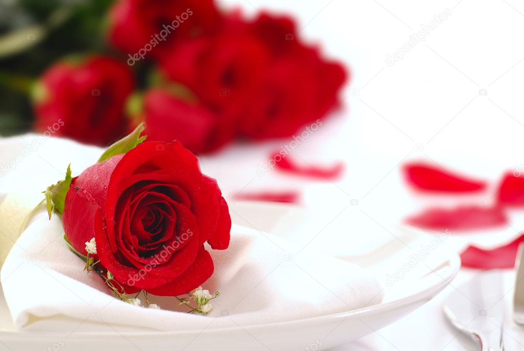 Single red rose on a dinner plate with roses and rose petals in the background  Stock Photo #5979560