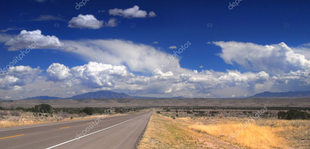 Desolate stretch of road in rural New Mexico with dramatic sky — Stock Photo #5979598