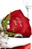 Rosa roja que dice que te amo — Foto de Stock