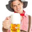 Stock Photo: Happy smiling guy with beer