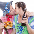 Happy bavarian man and woman — Stock Photo